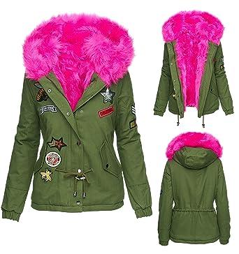 Winterjacke damen fell pink