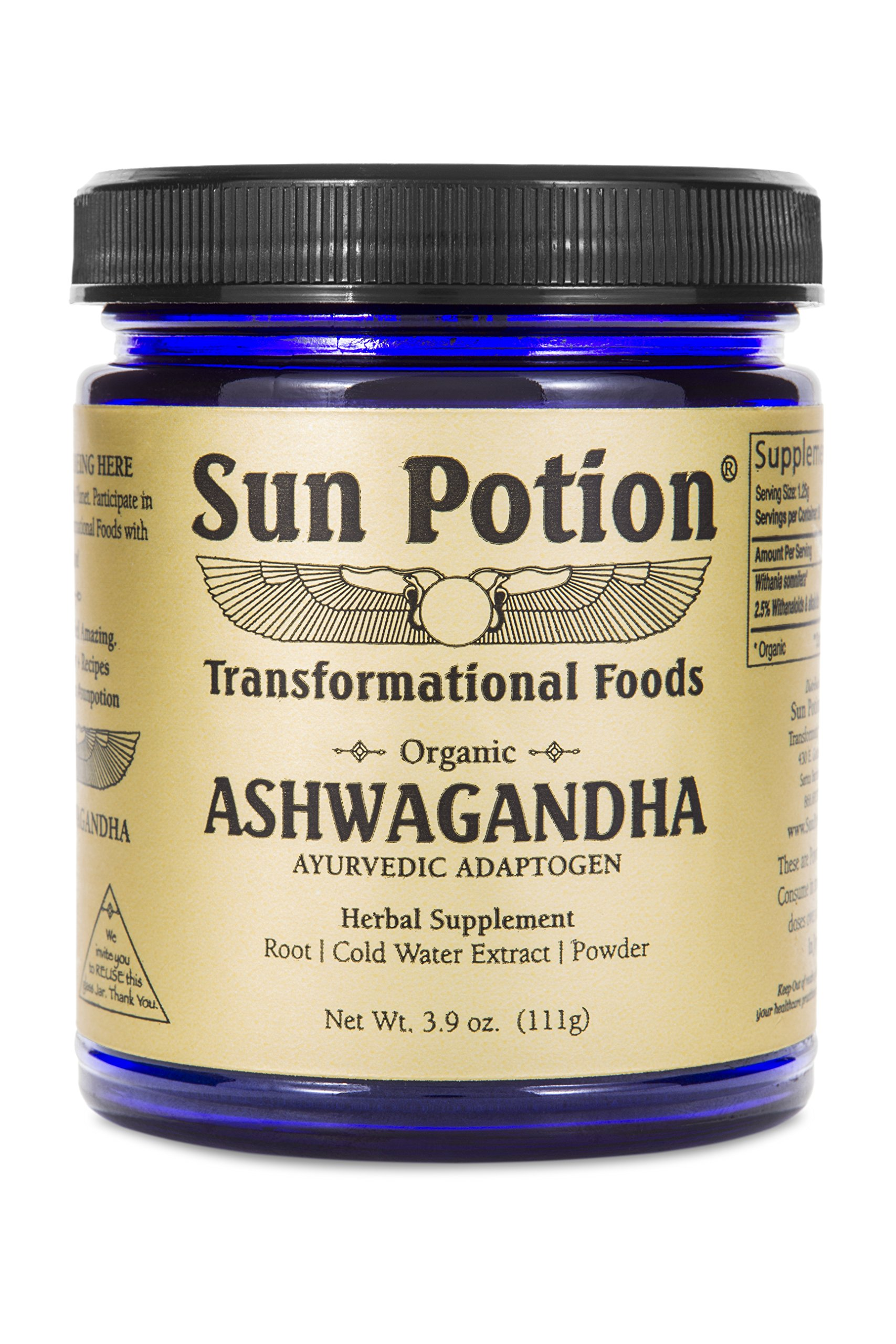 Ashwagandha Root Powder 111g by Sun Potion - Pure Organic Herbal Supplement Healthy Aid for Stress Depression Anxiety Energy Liver Thyroid Adrenal