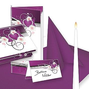 Einladung Tischdeko Set Hochzeit Herzen 32 Gaste Komplett Set Lila