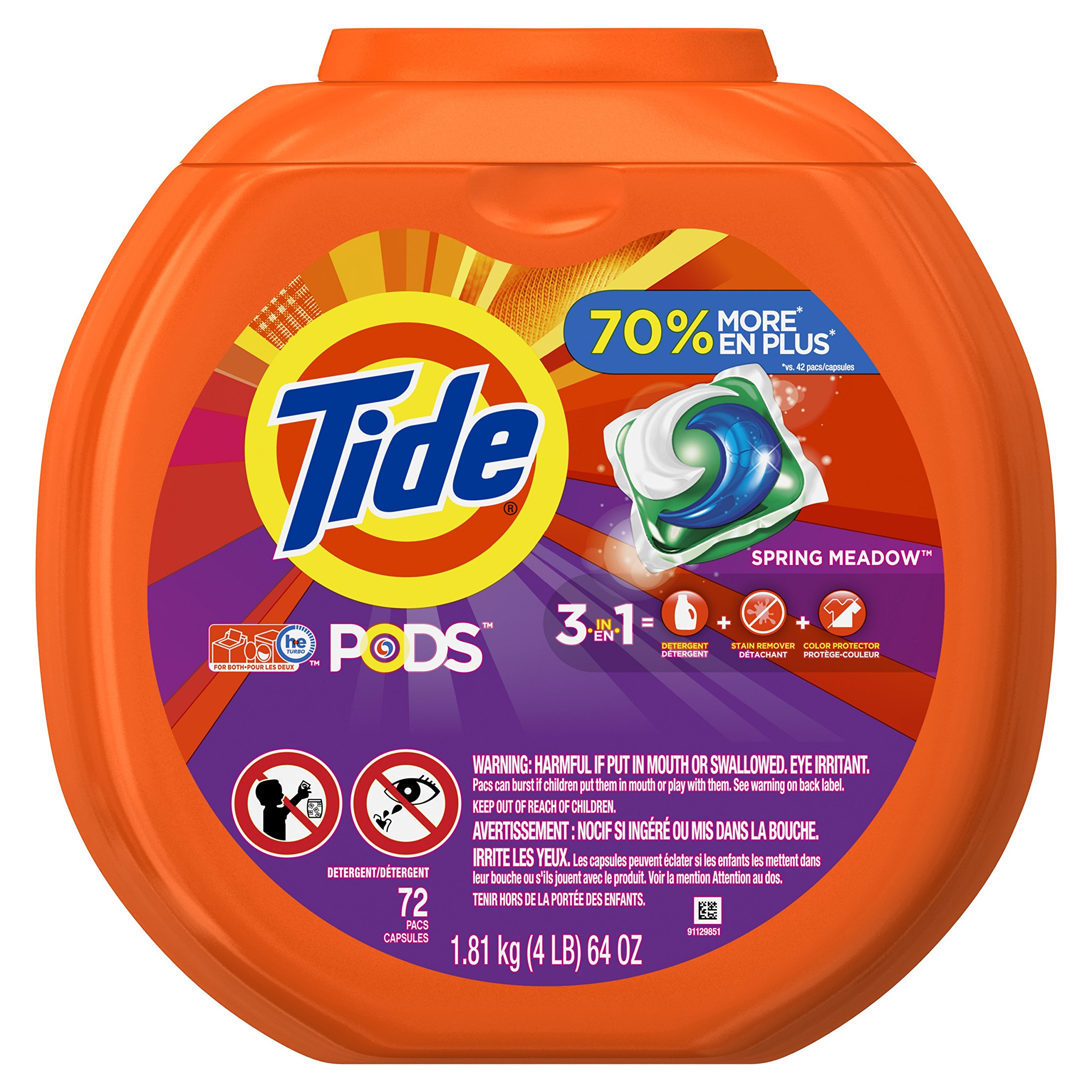 Tide PODS 3 in 1 HE Turbo Laundry Detergent Pacs, Spring Meadow Scent, 72