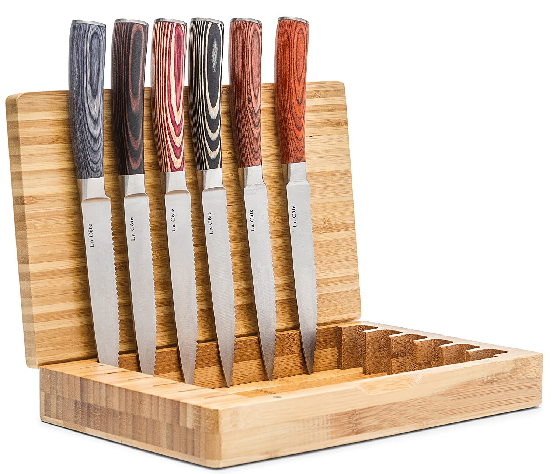 La Cote 6 Piece Steak Knives Set Japanese Stainless Steel Wood Handle In Bamboo Storage Box (Pakka Wood - Multi) La Côte Homeware LC-14335B2