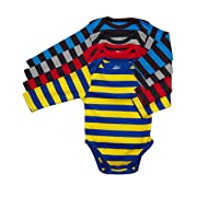 Leveret 4 Pack Long Sleeve Bodysuit 100% Cotton Stripes Boy 18-24 Months Multi 3