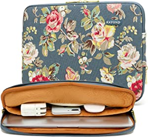 kayond Water-Resistant Canvas 11.6 Inch Laptop Sleeve-Blue Water Hyacinth