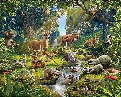 Walltastic Woodland Papier Peint Enfants Garçons Filles Papier peint Animaux de la forêt