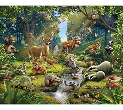 Walltastic Animals Of The Forest Wallpaper Mural 8ft By 10ft Multicoloured