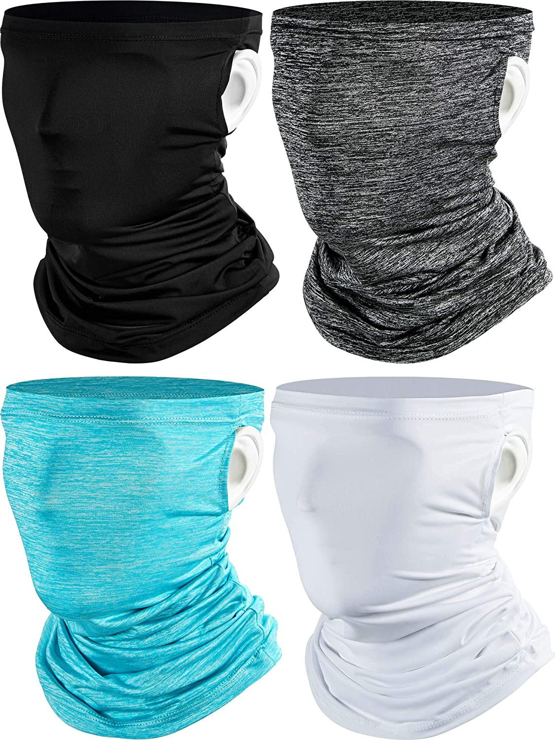 4 Pieces Ear Loops Neck Gaiter Face Cover Scarf Cooling Bandanas Balaclava Headwear for Wind Sun UV and Dust Protection