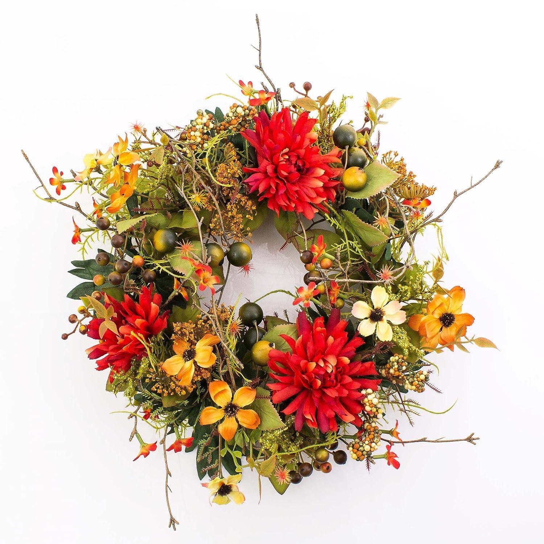 Artificial Autumn wreath with chrysanthemum, dogwood, berries, orange - red, Ø11.8
