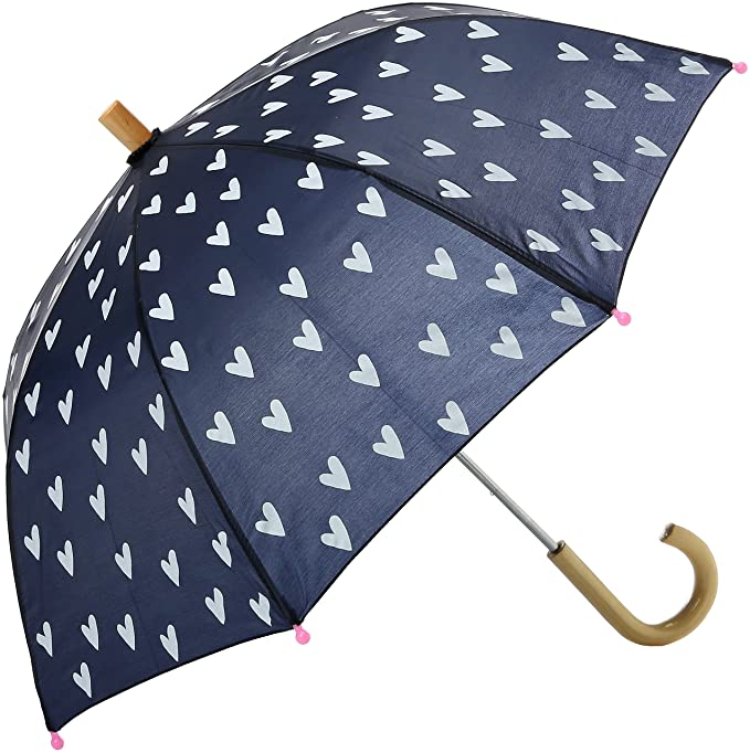 Hatley Printed Umbrella, Paraguas para Niñas, Blue (Navy/White Hearts),