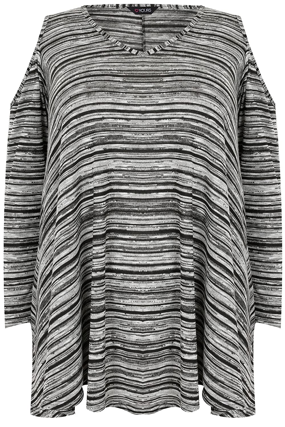 Yoursclothing Plus Size Womens Cold Shoulder Asymmetric Top With Long Sleeves