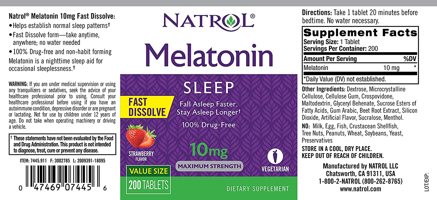 Amazon.com: Natrol Melatonin Fast Dissolve Tablets, Strawberry Flavor, 10mg, 200 Count: Health & Personal Care