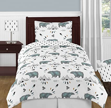 Sweet Jojo Designs 4 Piece Bear Mountain Watercolor Boy Twin Kid Childrens  Bedding Comforter Set
