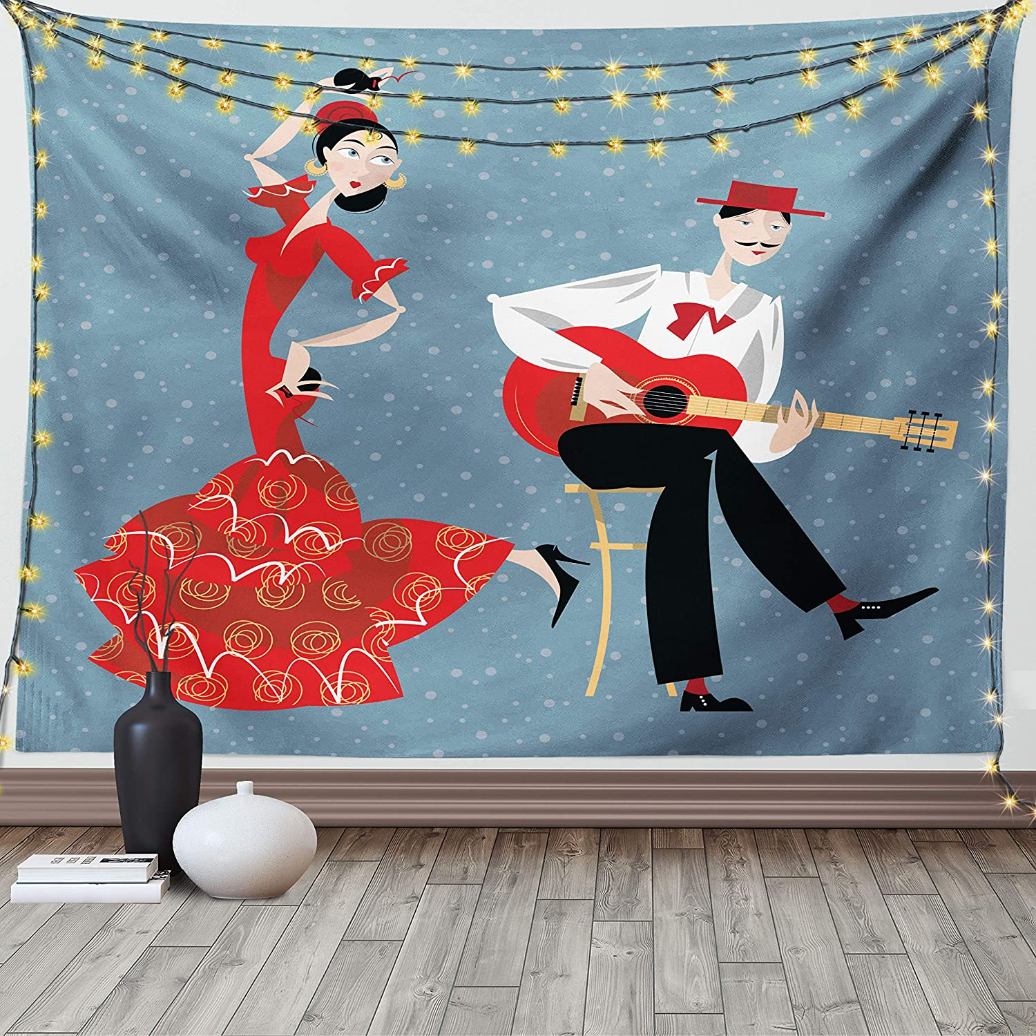 Lunarable Modern Tapestry King Size, Spanish Artist Couple Flamenco Dancing Girl and The Guitarist Man in Cultural Costumes, Wall Hanging Bedspread Bed Cover Wall Decor, 104