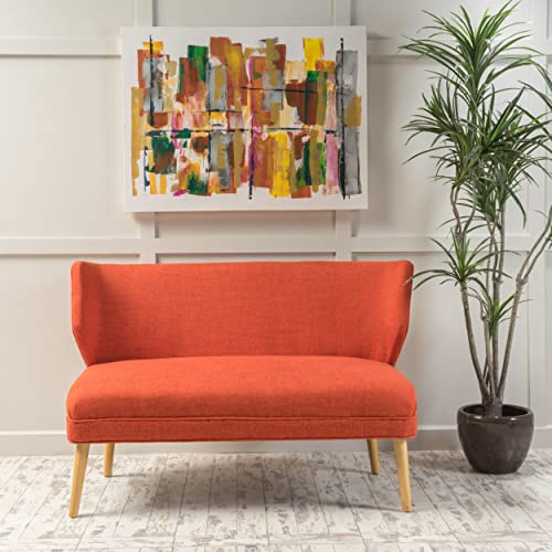 Christopher Knight Home 299390 Dumont Mid Century Modern Fabric Loveseat Sofa Settee Orange