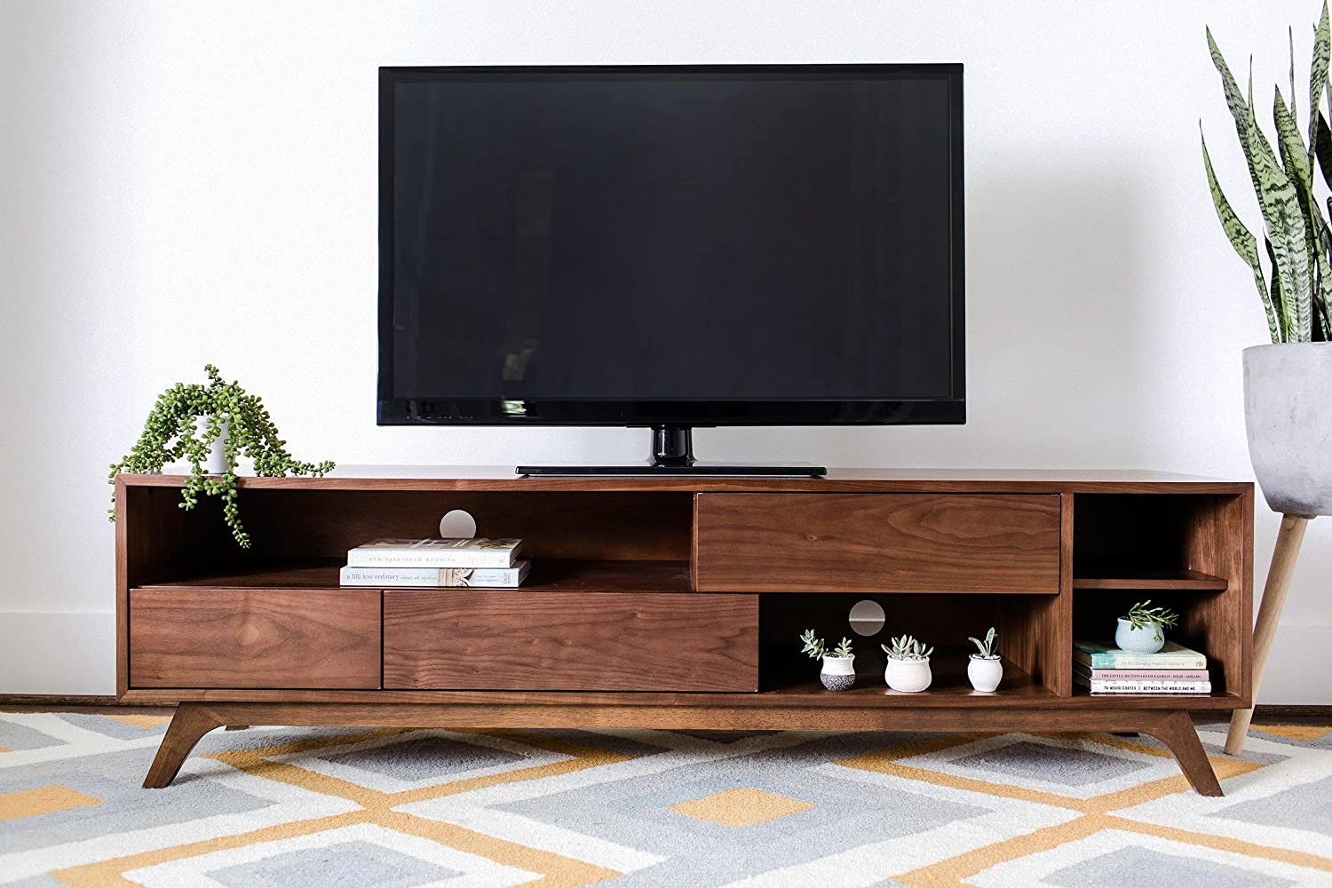 Edloe Finch PIPER Mid-Century Modern TV Stand, Cabinet with Storage, Walnut