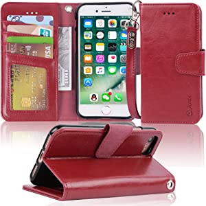 Arae Case for iPhone 7 / iPhone 8 / iPhone SE 2020, Premium PU Leather Wallet Case with Kickstand and Flip Cover for iPhone 7 / iPhone 8 / iPhone SE 2nd Generation 4.7 inch - Wine red
