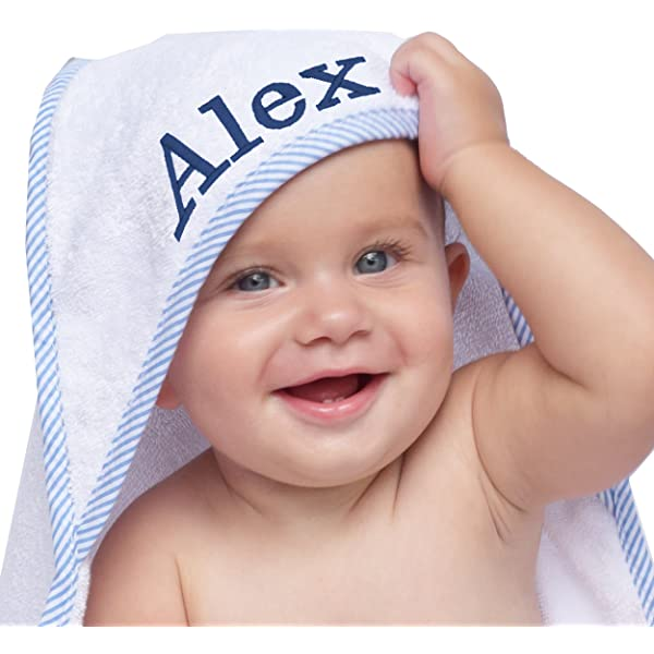 Personalised Name Black Baby Hooded Towel Embroidery Baby Gifts Girls Boys