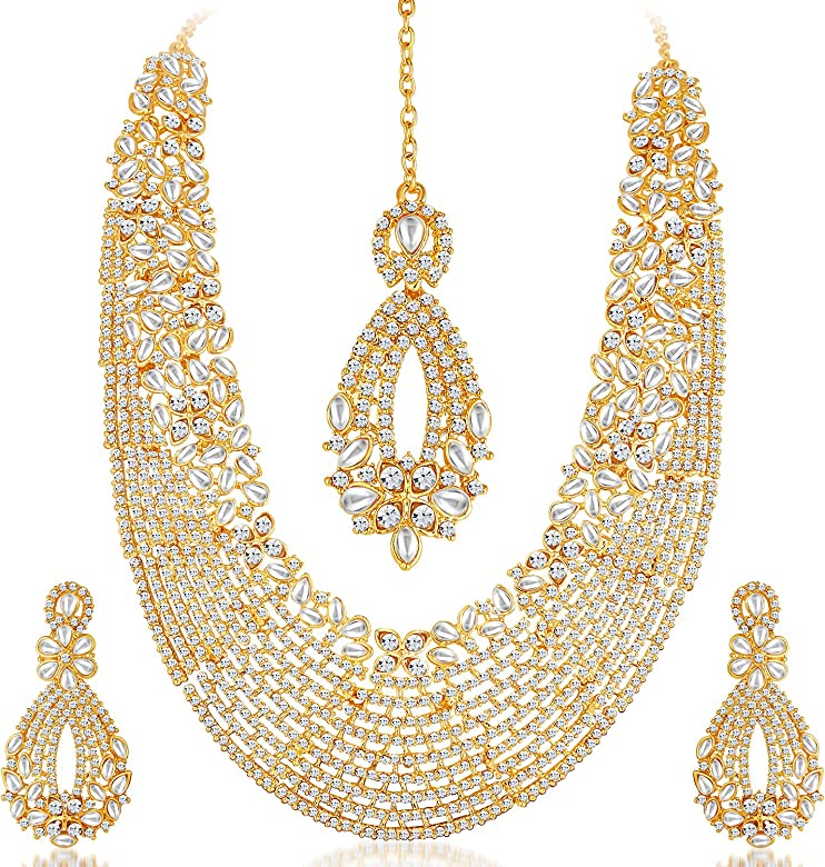 Sukkhi Gold Plated Australian Diamond Choker Necklace With Drop Earring & Mangtika Jewellery Set For Women: Amazon.es: Joyería