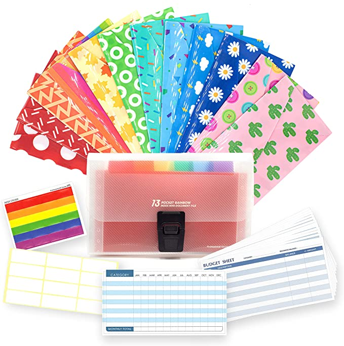 12 Piece Cash Envelope System for Budgeting – Reusable Plastic Budget Envelopes for Cash Savings –Durable, Tear Resistant, and Waterproof - 12 Budget Sheets, 24 Labels, and Organizer Wallet Included