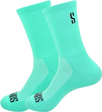 Support Calcetines de Ciclismo para Hombres, tecnología Transpirable, Fibra Antideslizante, Divertidos Unisex, Ciclistas para Senderismo, Caminata, Escalada, Ciclismo