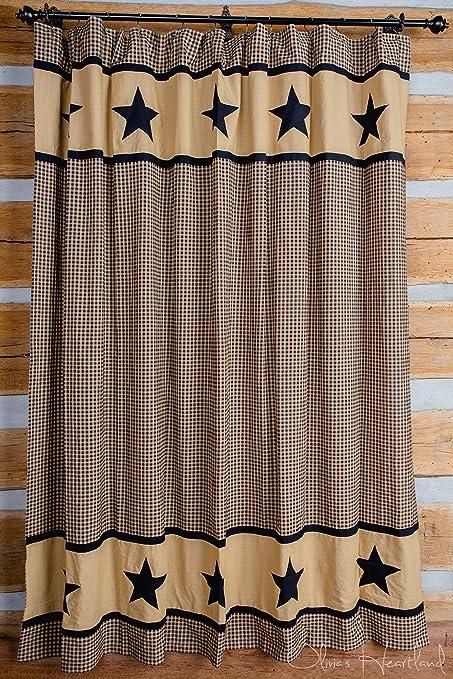 Olivias Heartland Black And Tan Star Shower Curtain