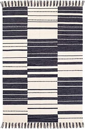 Fab Habitat Reversible Cotton Area Rugs Rugs for Living Room, Bathroom Rug, Kitchen Rug Machine Washable Metta - Black 8 x 10