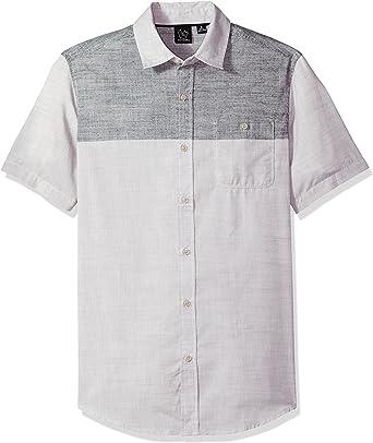 Burnside Hombre Sin Mangas Camisa de Botones - Gris - Medium ...