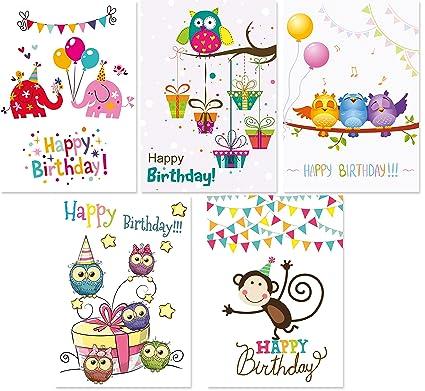 15 tarjetas de cumpleaños para niños, 5 diseños con cada uno ...