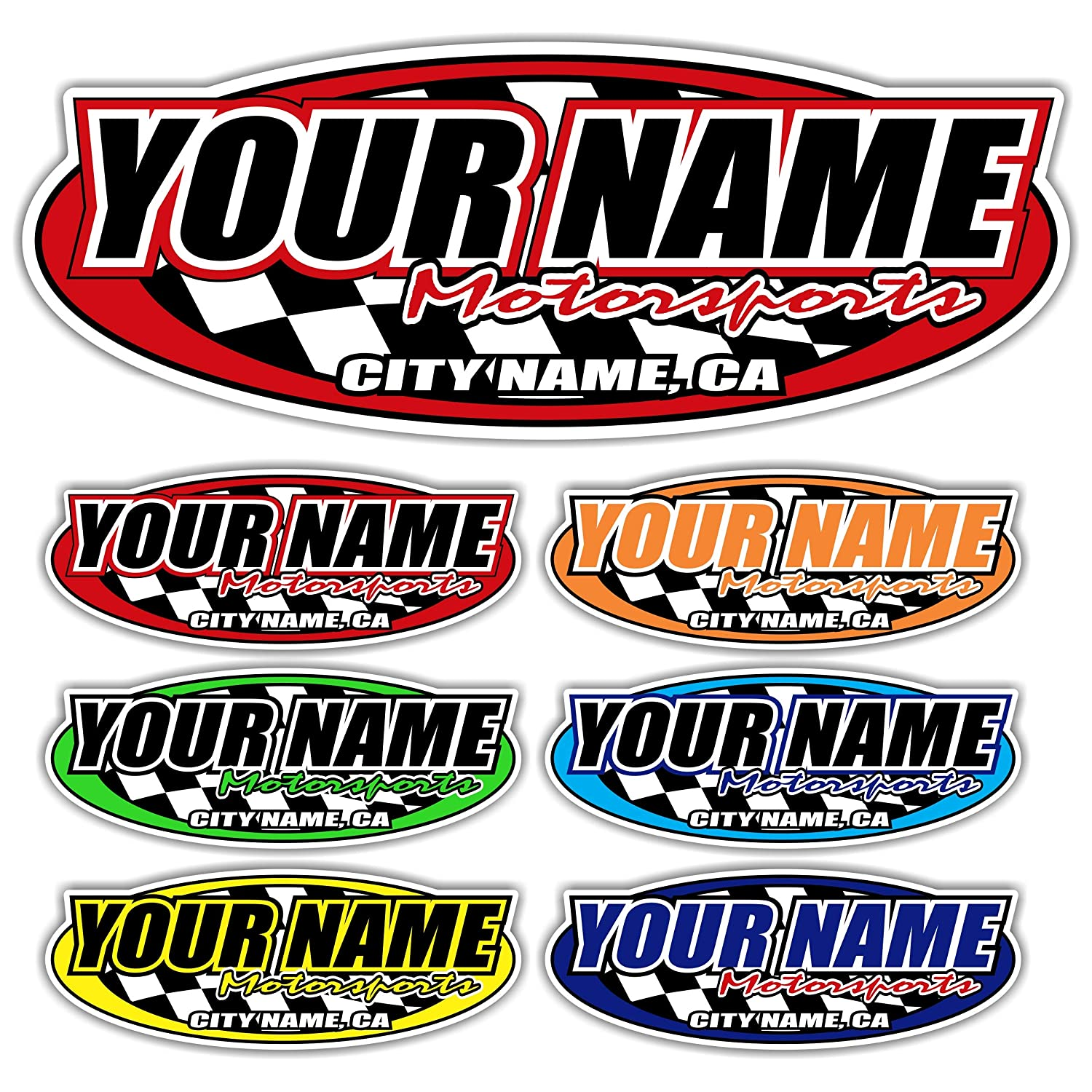 Amazon com custom your team name motorsports trailer decals your name trailer stickers multiple color size options automotive