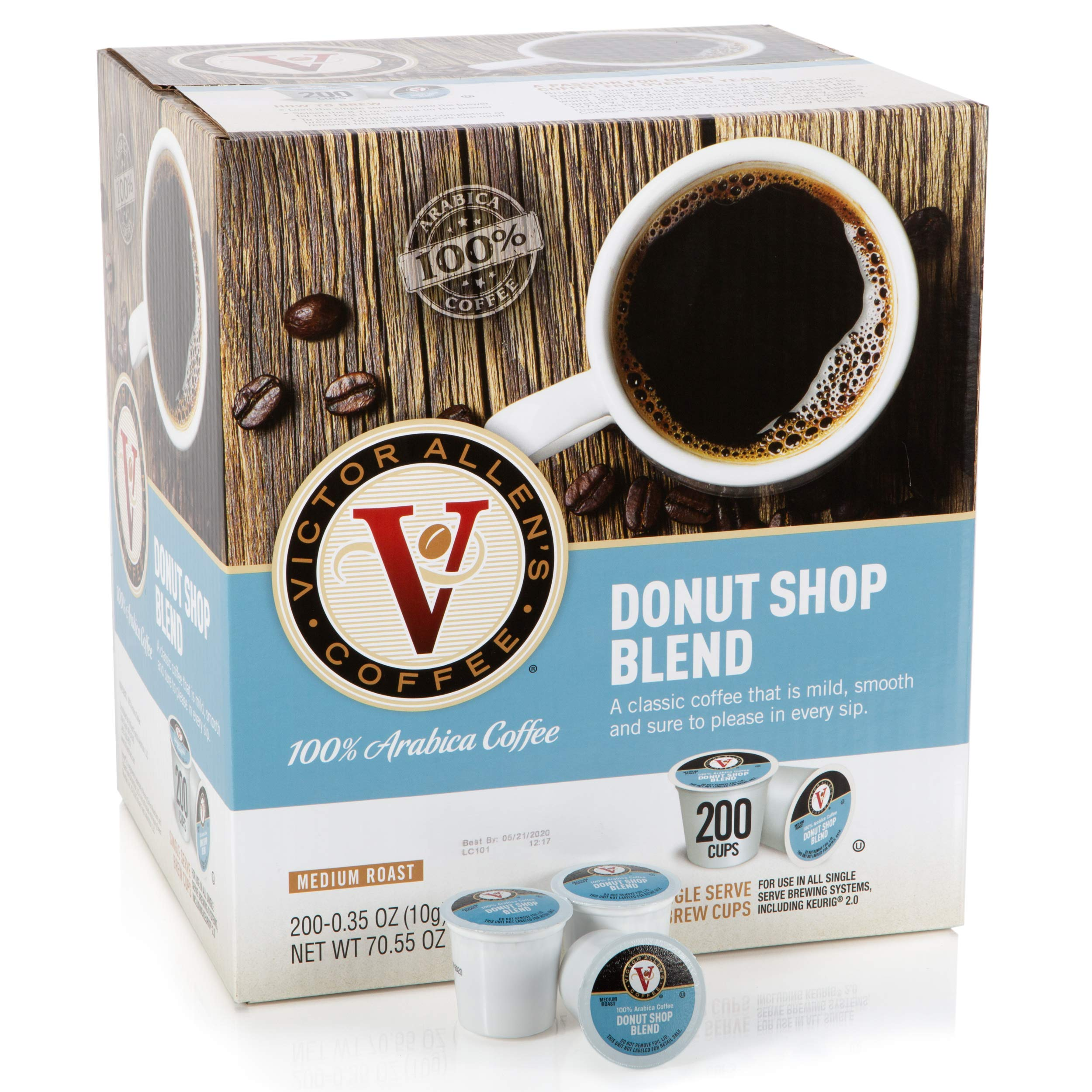 Victor Allen Coffee, Donut Shop Single Serve K-cup, 200 Count (Compatible with 2.0 Keurig Brewers) by Victor Allen (Image #1)
