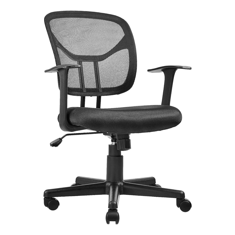AmazonBasics Mid-Back Desk Office Chair with Armrests – Mesh Back, Swivels – Black, BIFMA Certified