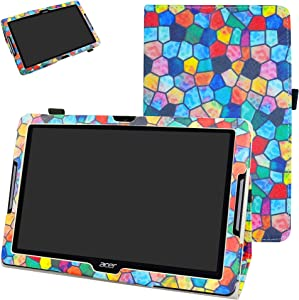 """Acer Iconia One 10 B3-A30 Case,Mama Mouth PU Leather Folio 2-Folding Stand Cover with Stylus Holder for 10.1"""" Acer Iconia One 10 B3-A30 Android Tablet, Stained Glass"""