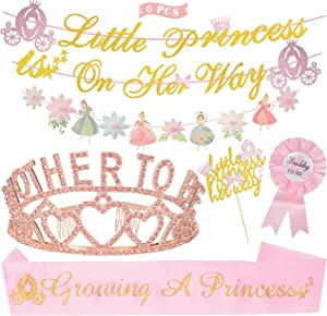 Baby Shower Decorations for Girl, Mother to Be Tiara Hearts Crown, Little Princess On Her Way Banner,Growing A Princess Sash, Daddy to Be Pin, Baby Shower Party Favors Decorations for Girl
