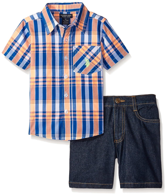 U.S. Polo Assn. Boys' 2 Piece Sleeve Plaid Woven Shirt and Denim Short