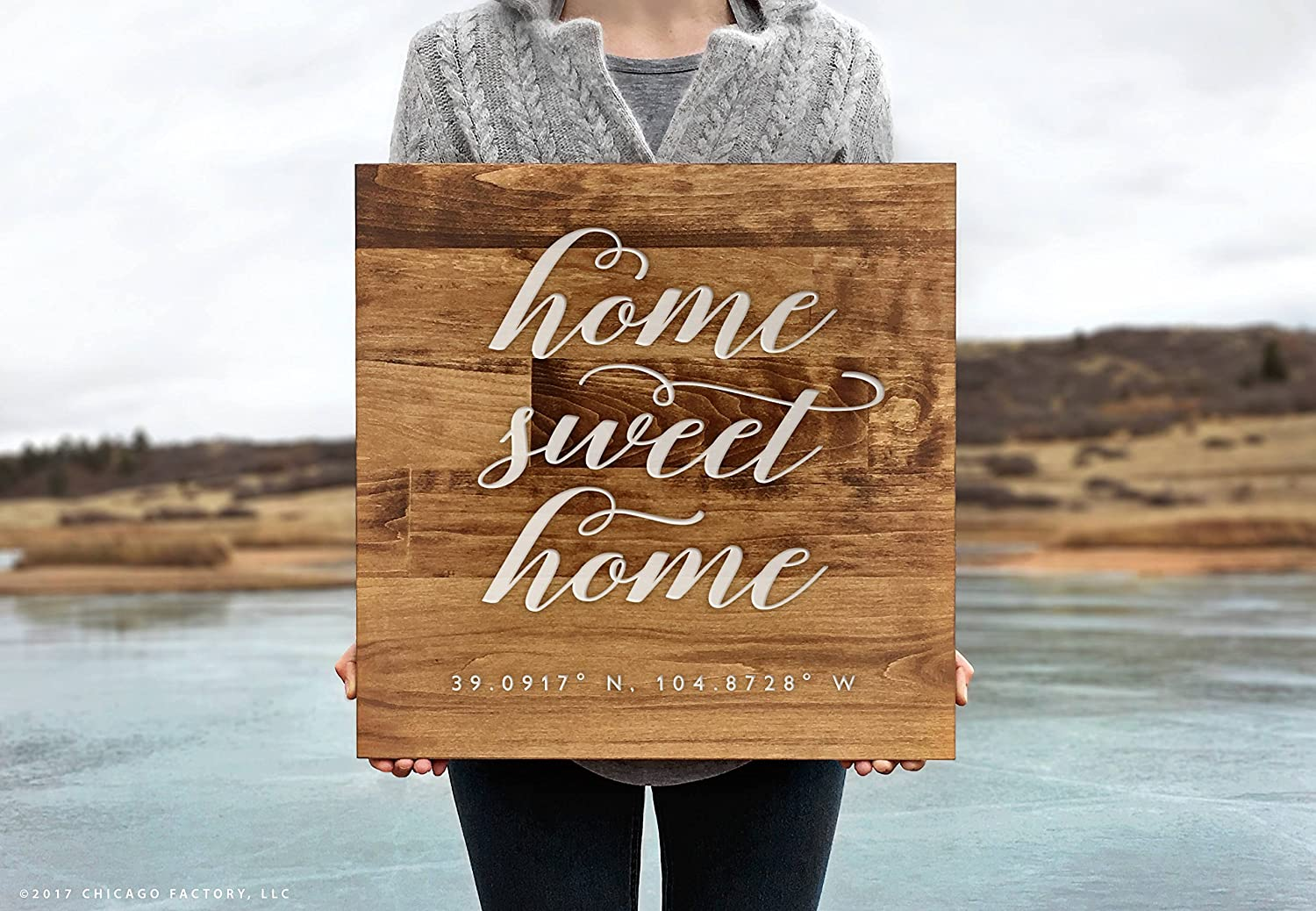 CELYCASY Wood Home Sweet Home Sign, GPS Coordinates, Latitude Longitude Sign, Home Decor, Housewarming Gift, New Home Gift, Wood Sign (GP1271)
