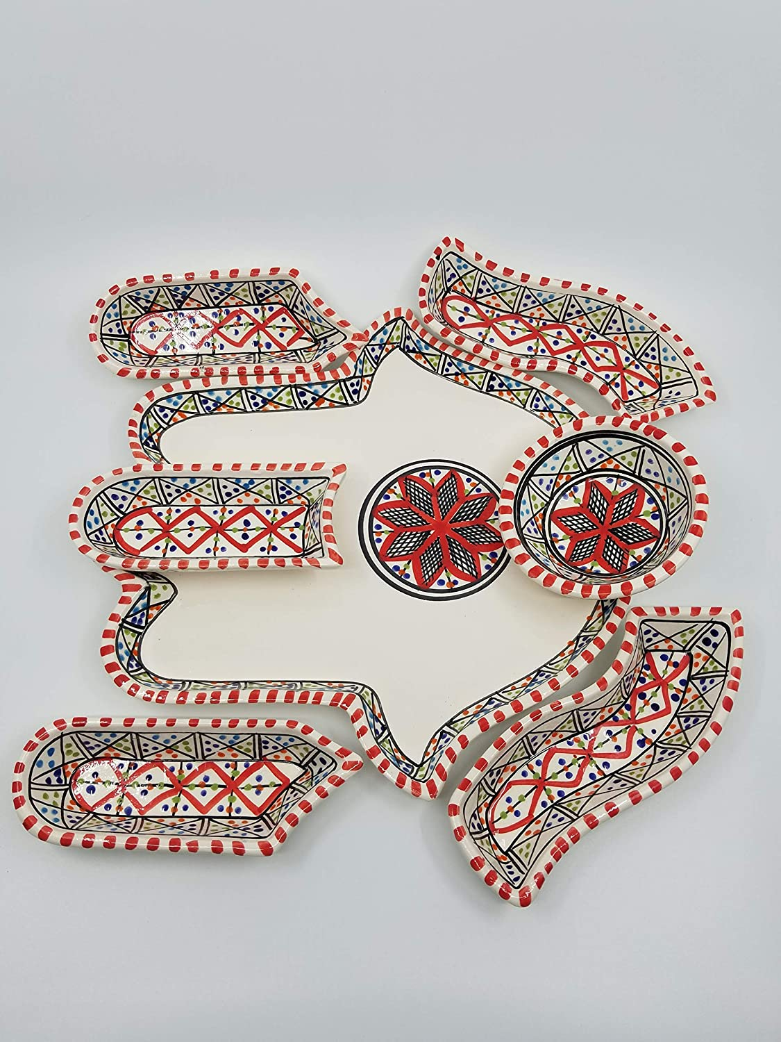 Large Red Hamsa Palm, Hand of Fatima Dippers, 7 Pieces of Ceramic Dipping and Serving Plates HandMade, Hand-painted, plate, dish, Wedding Gifts, Birthday, Housewarming Gifts, Celebration