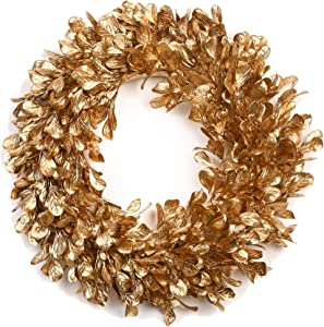 Brand Registry Gold Boxwood Wreath - 16 Inch Artificial Fall Wreaths for Front Door,Christmas and Halloween Home Decor