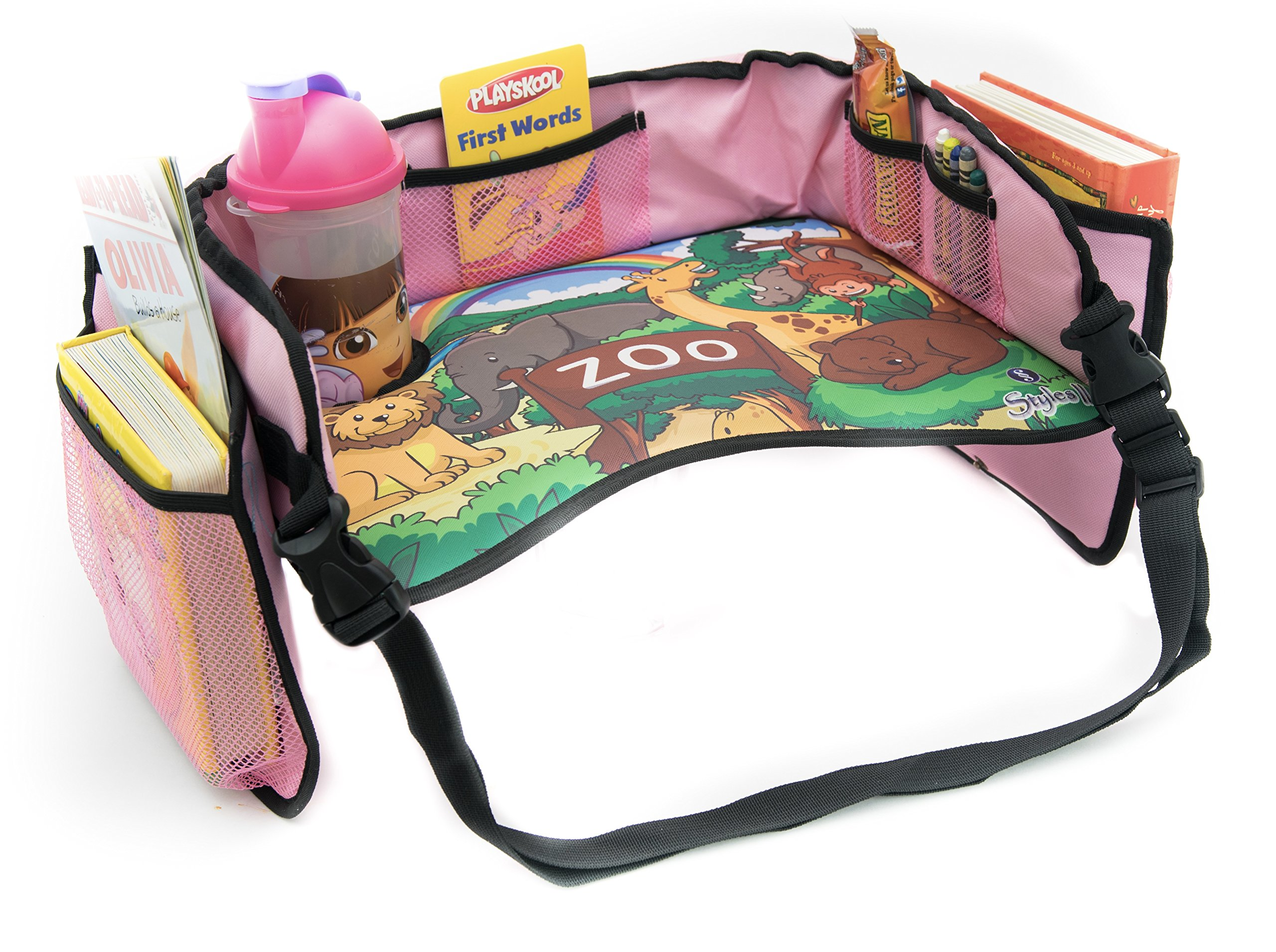 Styles II Toddler Car Seat Travel Activity Lap Tray - Solid Reinforced Surface, Cup Holder, Mesh Pockets, Sturdy Side Walls for Snacks & Drawing - Kids Play & Learn Tray.