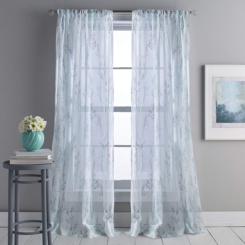 DKNY Whisper Sheer Window Curtain Single Panel, 84-inch, Aqua