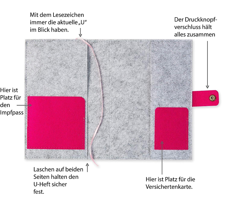 U-Hefth/ülle Igel aus Filz Farbe w/ählbar farbigen F/ächern und Lesezeichen grau//blau | Bestickte H/ülle f/ür Uheft mit Druckknopf