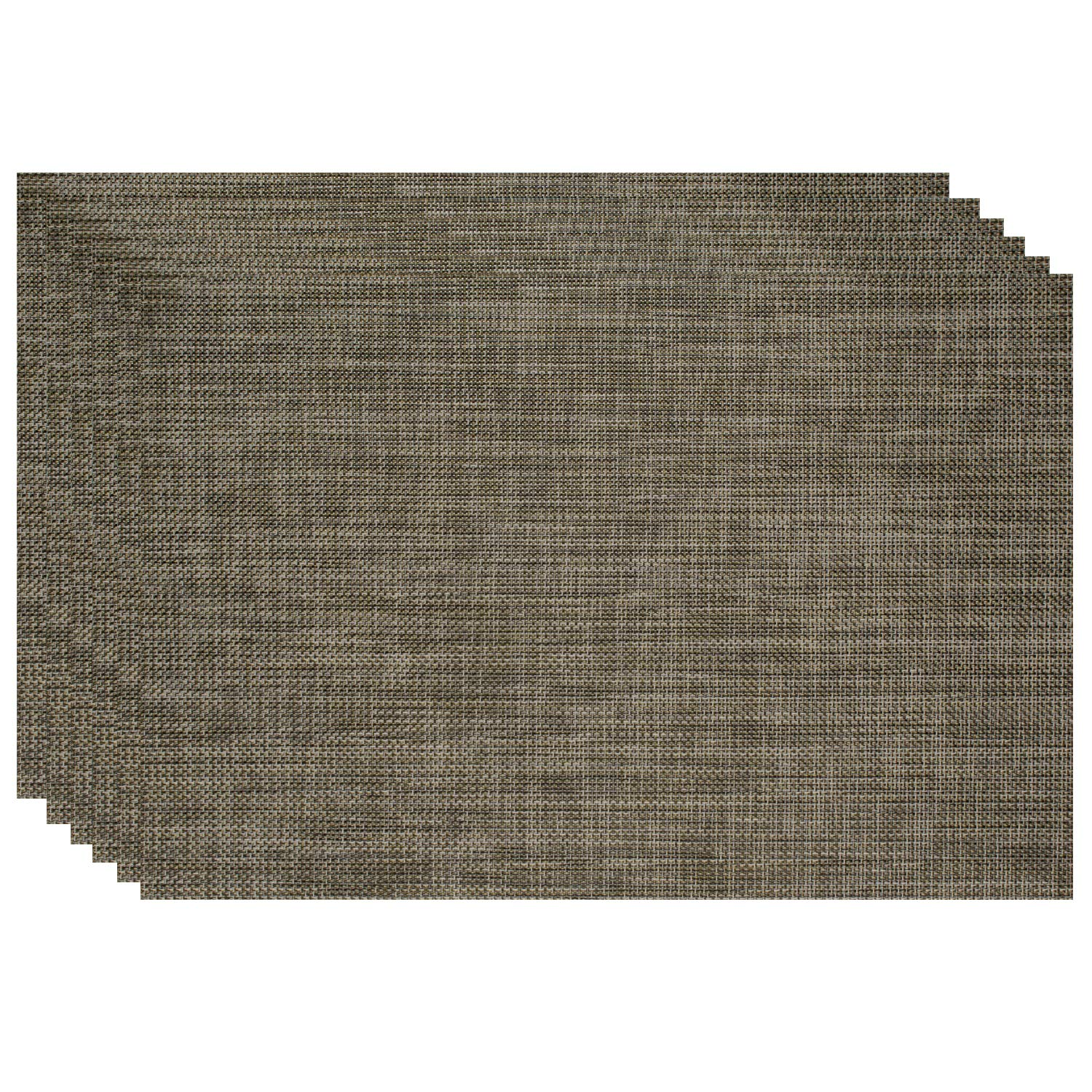 6, Light Coffee Warekin 4-Piece Placemats PVC Woven Placemat Large Lattice Table mats for Kitchen Outdoor