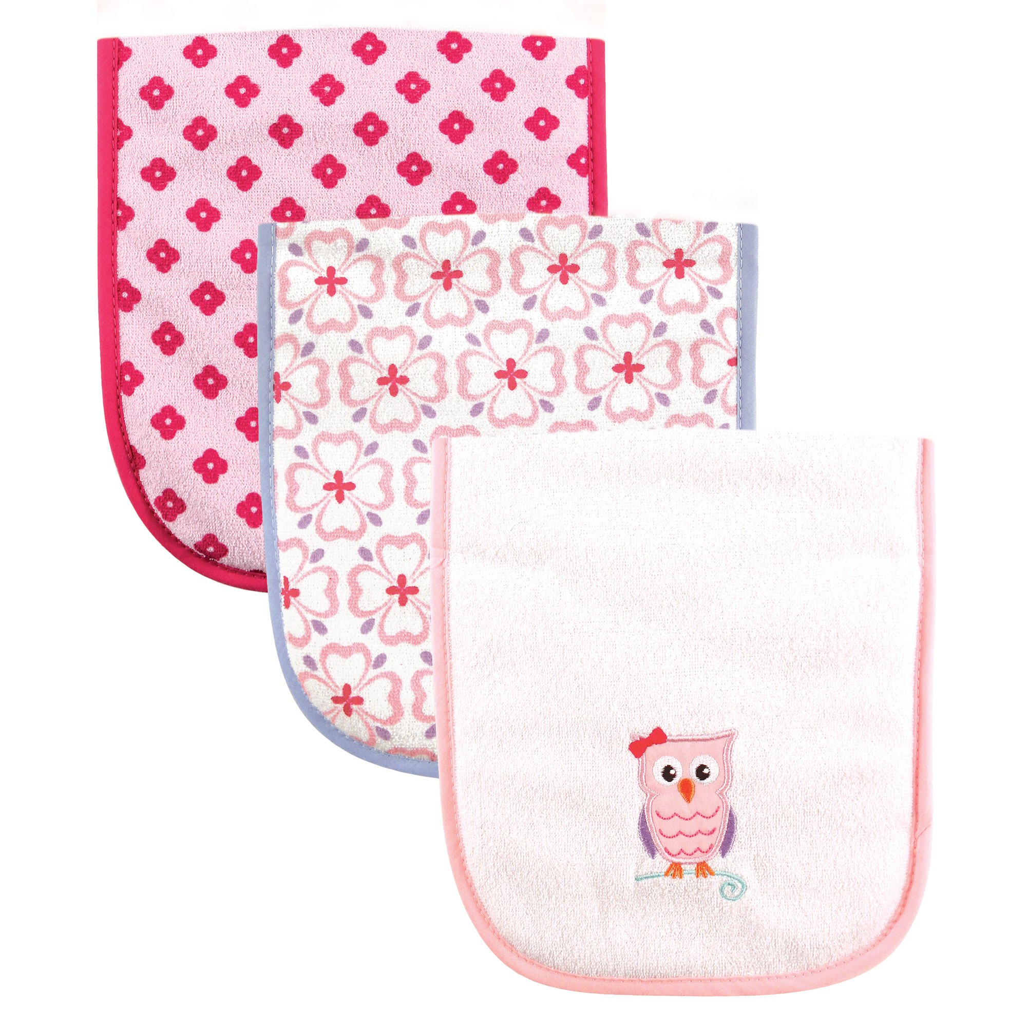 Luvable Friends Baby Burp Cloths, Pink Owl