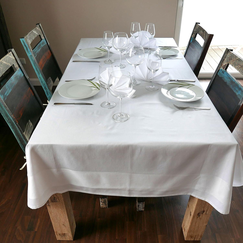 Zollner Damast Tischdecke, 240x240 cm, Baumwolle, Atlaskante, Atlaskante, Atlaskante, eckig, weiß B018909CH4 Tischdecken c2654e