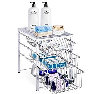 Simple Trending 3-Tier Under Sink Cabinet Organizer with Sliding Storage Drawer, Desktop Organizer for Kitchen Bathroom Office, Stackbale, Chrome