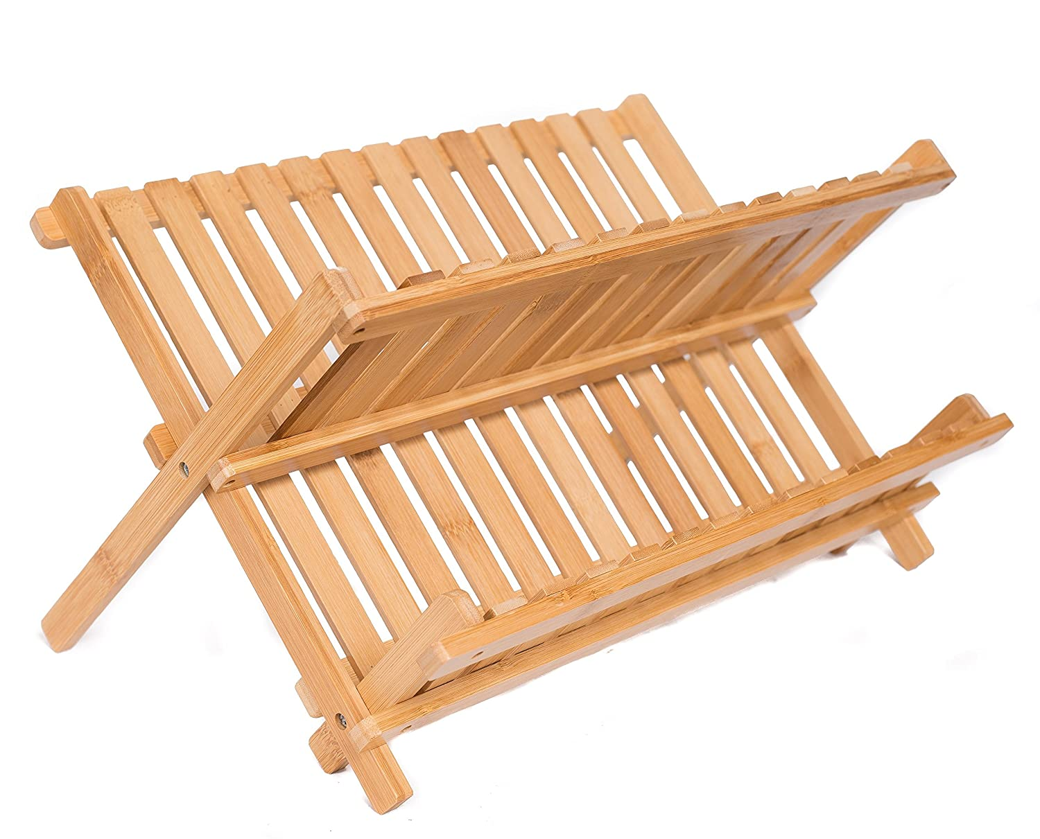 Birdrock Home Bamboo Folding Dish Rack 2 Tier Collapsible