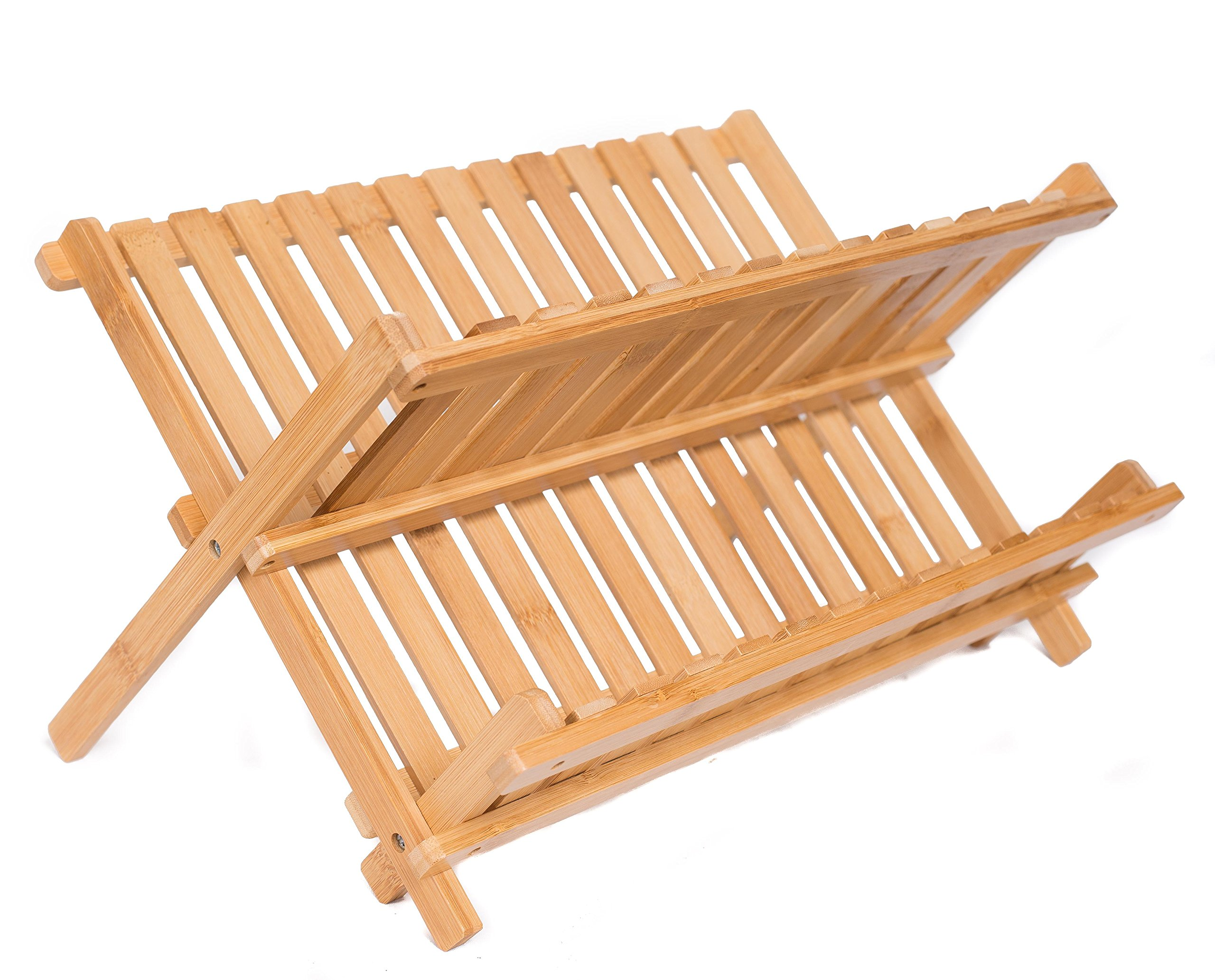 Collapsible Bamboo Drying Dish Rack | 2 Tier Level Folding Dish Rack for Counter Top | Quick Dry | Wooden Wood Dish Drainer | Kitchen Drying Utensils & Dishes | Plates Bowls | Easy Clean | Foldable