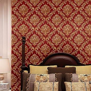 Blooming Wall Red Damasks Flocking Embossed Textured Wallpaper Roll For Livingroom Bedroom 20 8 In32 8 Ft 57 Sq Ft Per Roll Gold Red Wallpaper Red Amazon Com
