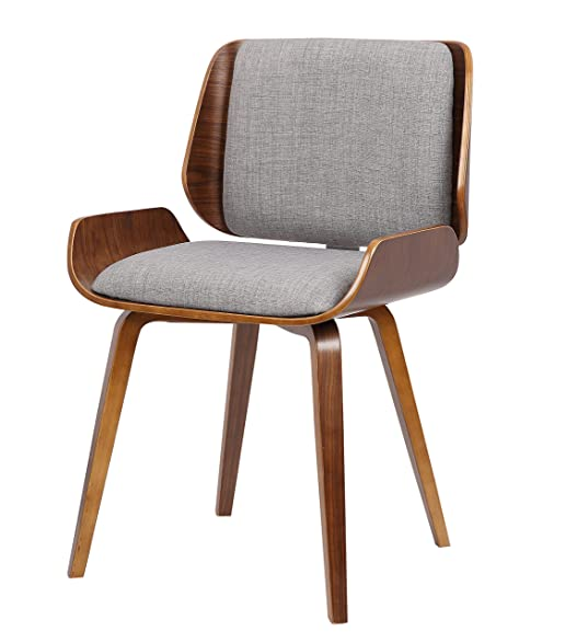 Container Furniture Direct Eldon Collection Mid Century Wood And Fabric  Upholstered Dining Chair With Solid Wood