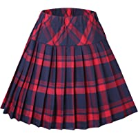 EXCHIC Women's Tartan Elastic Pleated Plaid Skirts Schoolgirls Mini A-line Skirt Cosplay Costumes