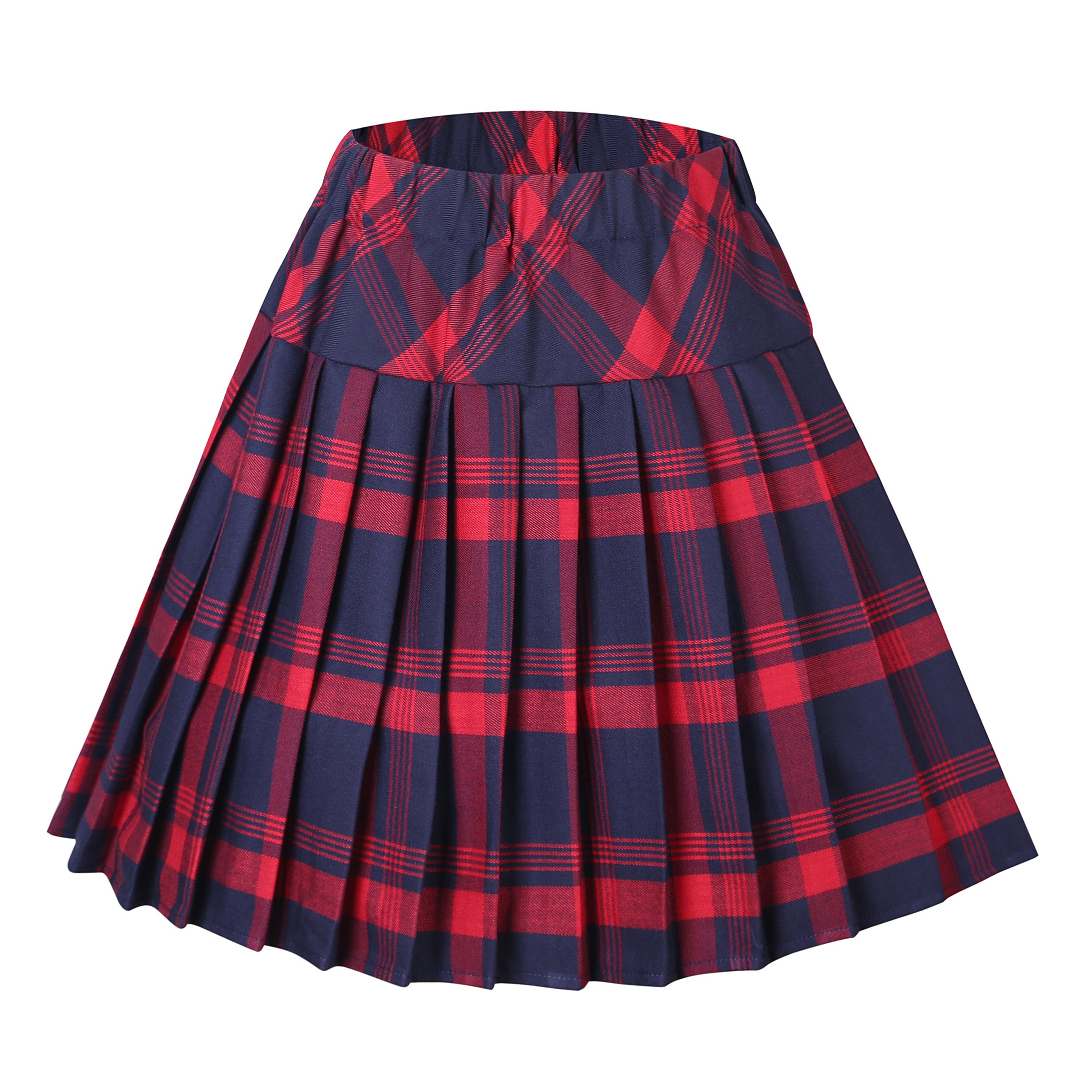 Urban CoCo Women's Elastic Waist Tartan Pleated School Skirt (X-Large, Series 1 red)