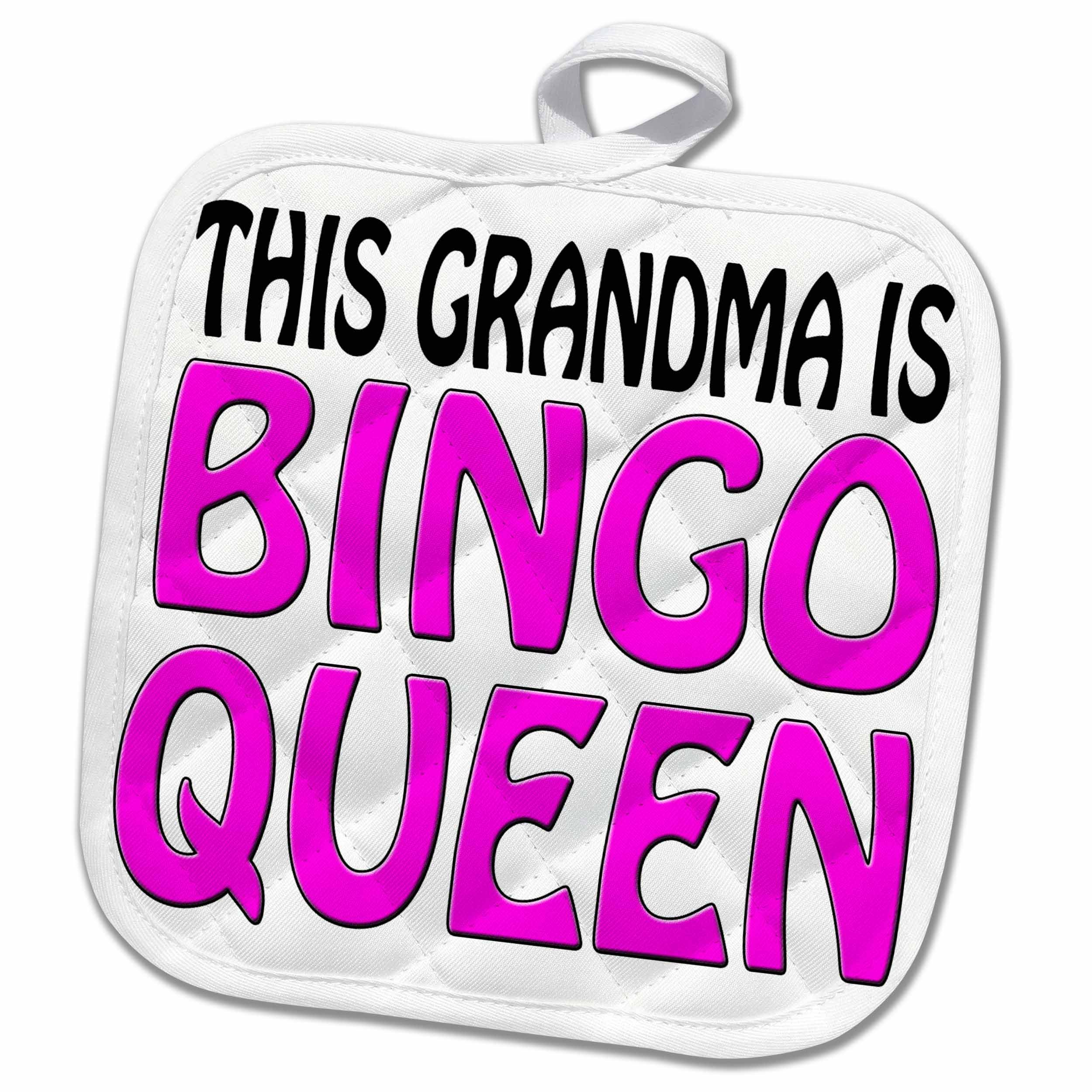3dRose EvaDane - Funny Quotes - This grandma is bingo queen, Hot pink, 8x8 Potholder (phl_149770_1) by 3dRose